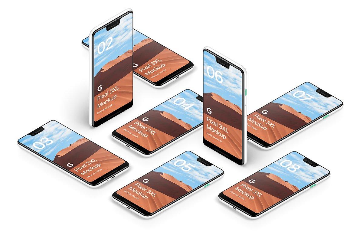 精致Android手机样机设备多角度展示样机素材下载Google Pixel 3 XL Mockups