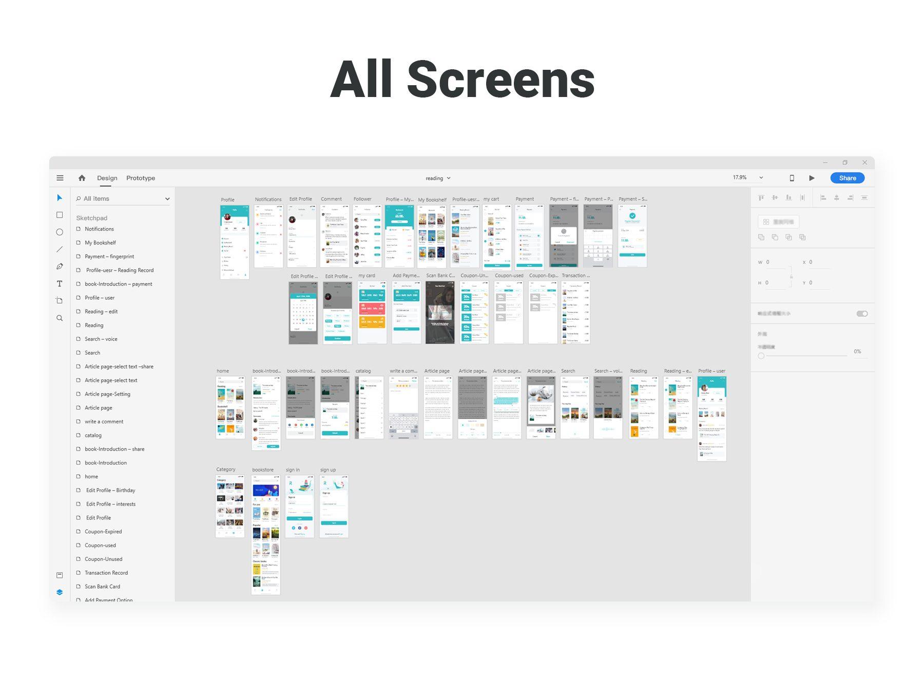 阅读类工具APP UI KIT套装 iOS Ui ui设计app [XD] Read & Book UI Kit for Adobe XD