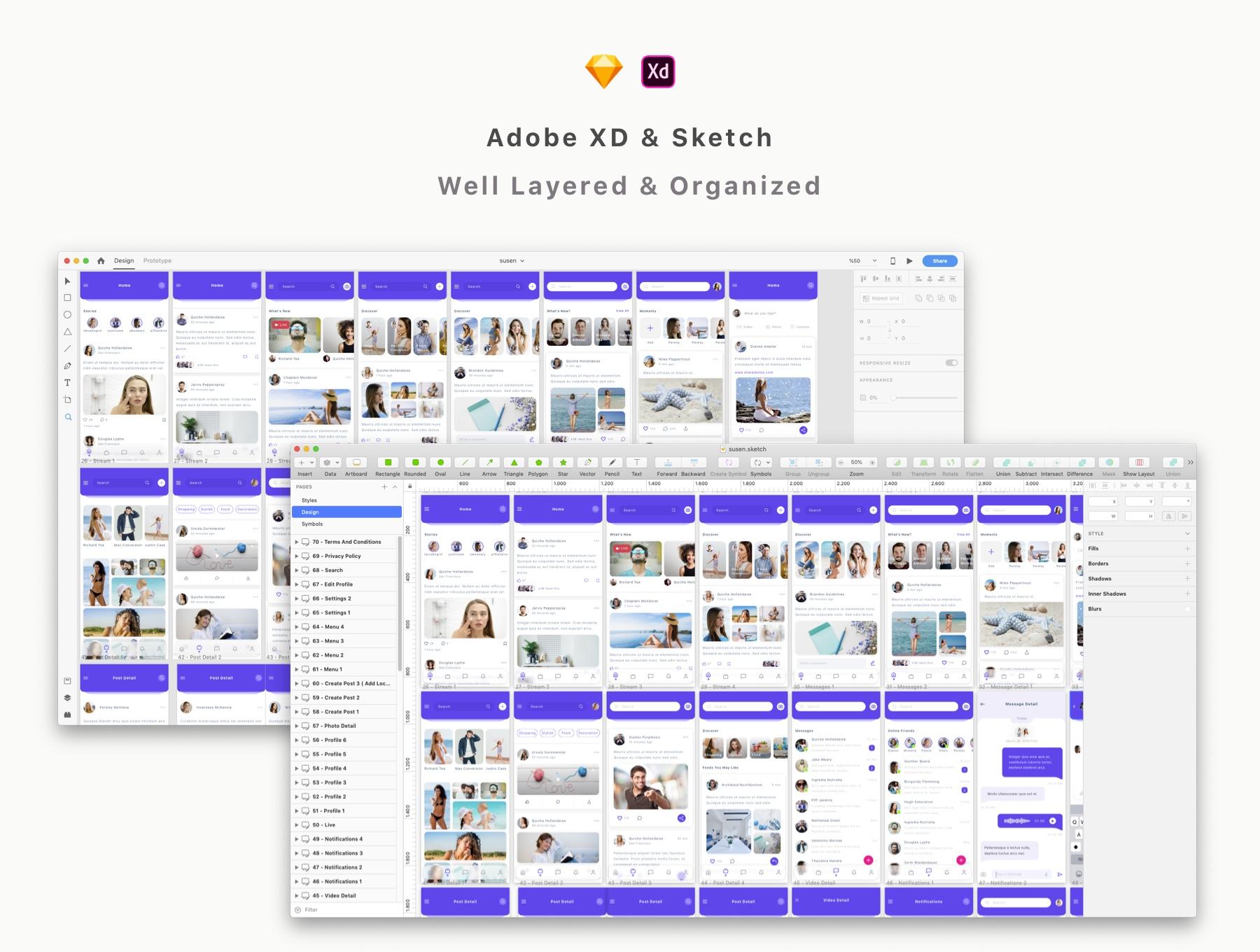完美的多功能社交产品app设计iOS Ui模板套装下载[Sketch,XD] Susen Social Network App UI Kit