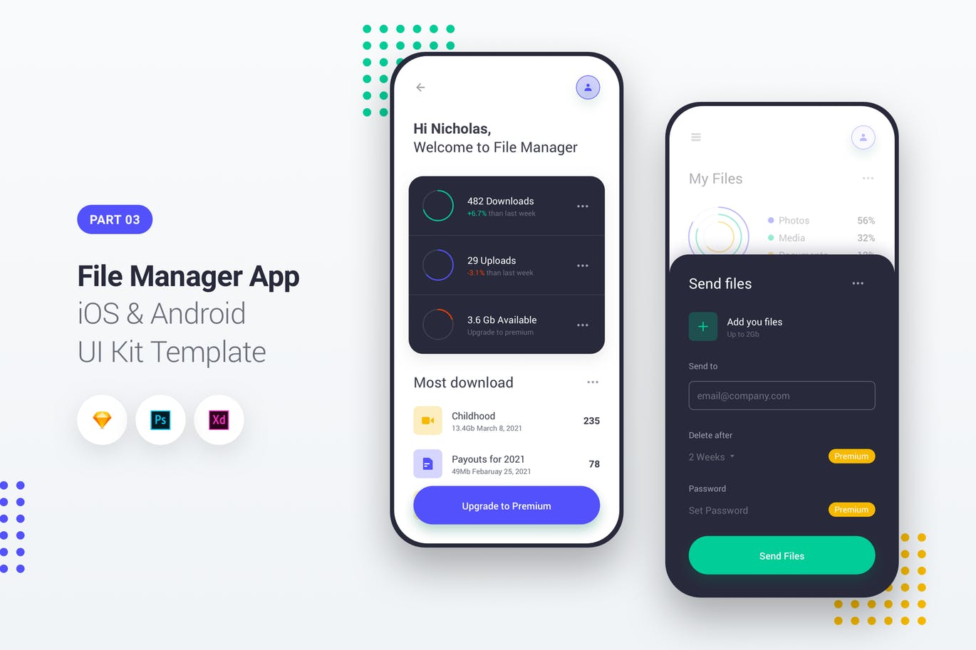 时尚高端简约多用途的高品质文件管理器App iOS和Android APP UI KITS  File Manager App iOS Android UI Kit Template Part 3 by PanoplyStore