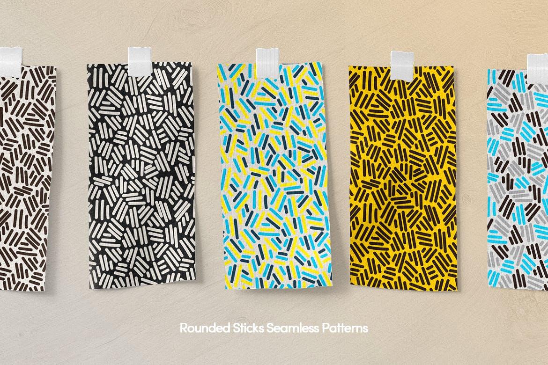 多彩的孟菲斯艺术几何元素无缝图案纹理背景