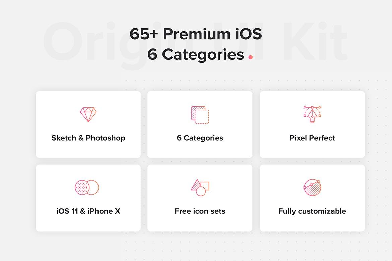 时尚高端超高品质的6种类别的多用途APP UI KITS origin-mobile-ui-kit
