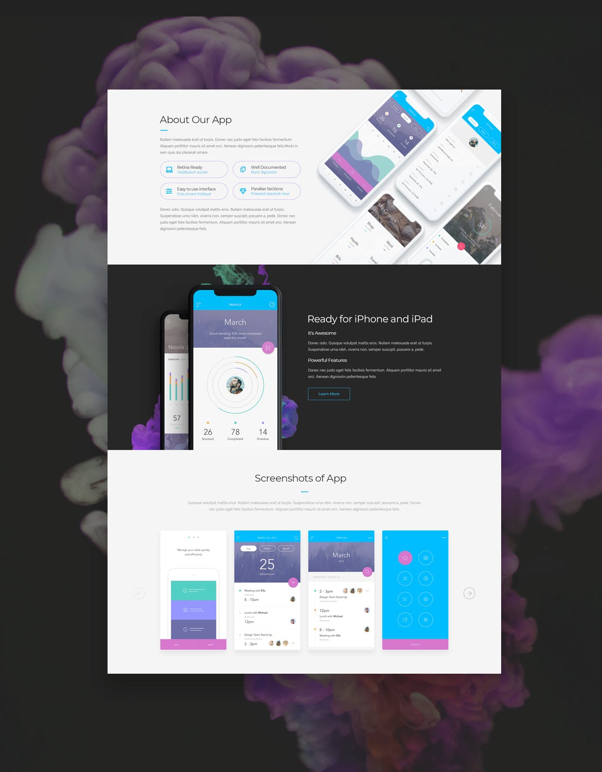 时尚高端多用途的适合APP营销网站设计模板UI KITS  kinetic-app-landing-page-psd-one-page-template
