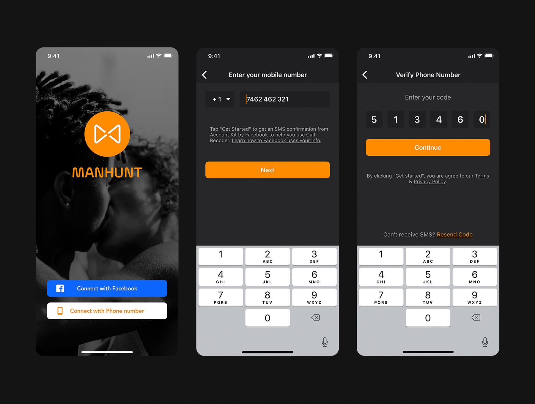 男士风格的约会交友app设计iOS Ui模板套装下载[Sketch,XD,fig] ManHunt Dating app UI Kit