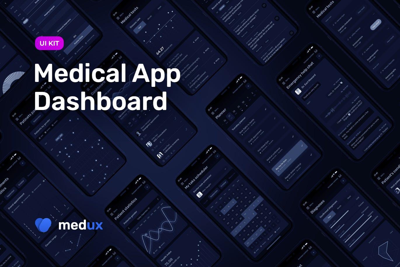 时尚高端多用途的高品质医疗应用程序仪表板dashboard APP UI KITS medical-app-dashboard-medux-dark-ui-kit