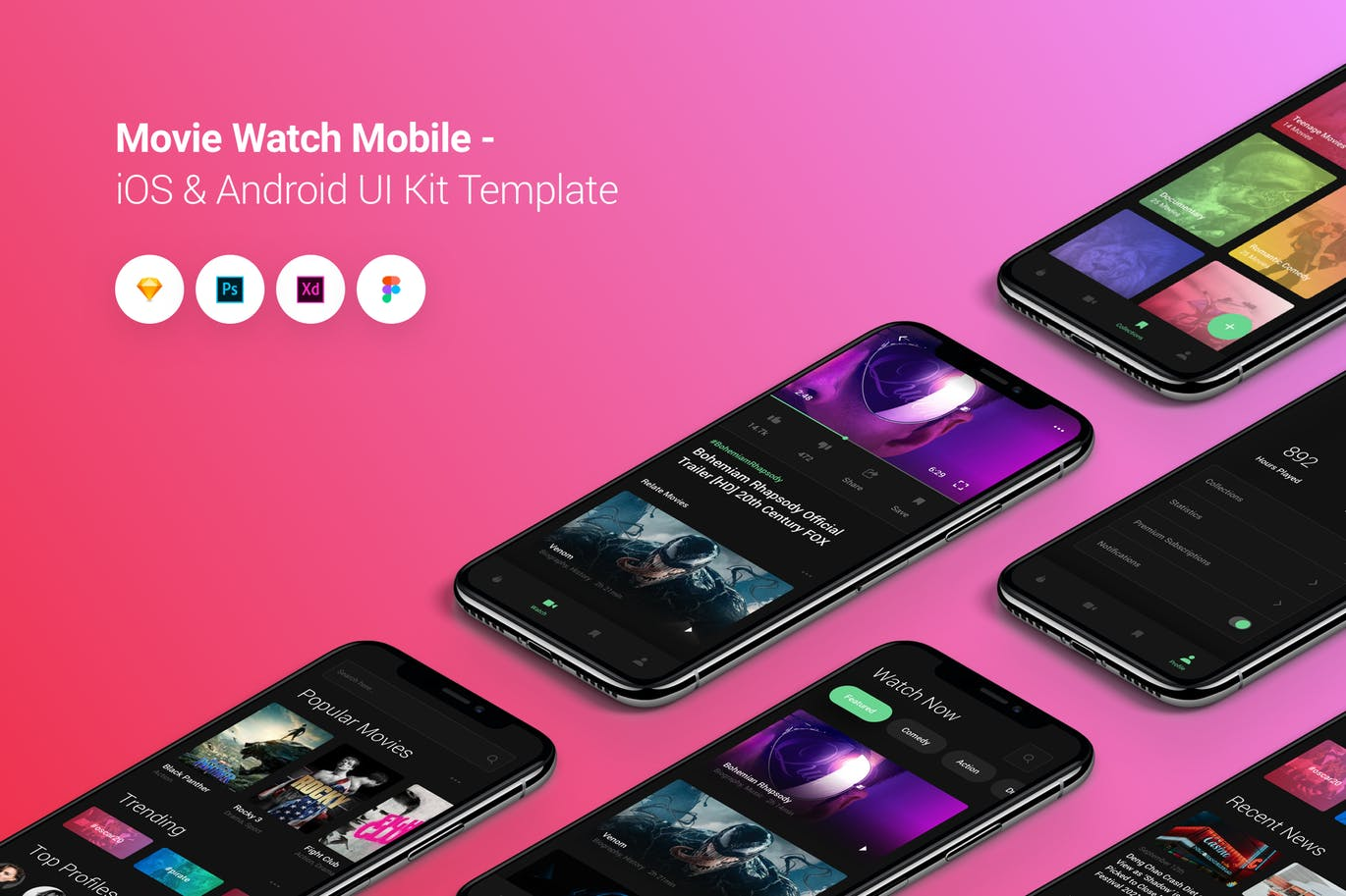 高品质的高端时尚电影移动iOS和Android APP UI KITS设计模板 Movie Watch Mobile iOS & Android UI Kit Template by PanoplyStore
