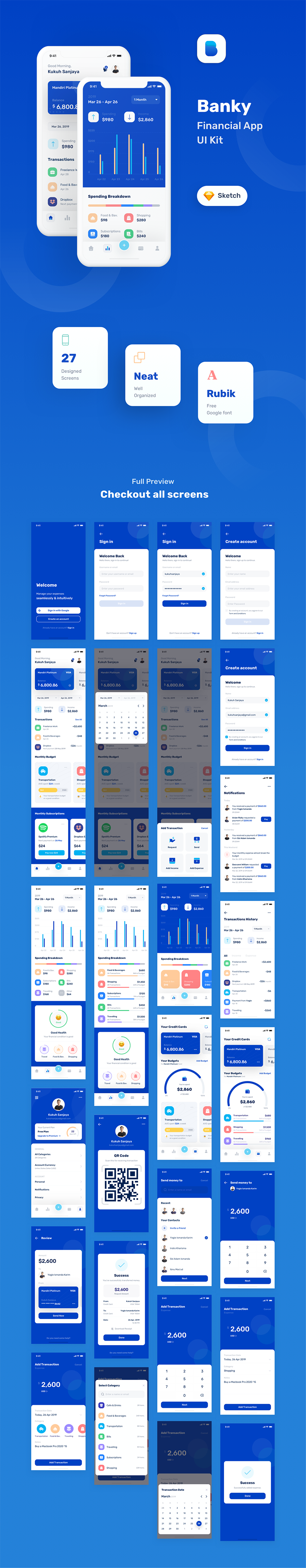 iOS 金融 APP UI KIT 套装模板下载 iOS Ui app设计 Banky - Finance App UI Kit