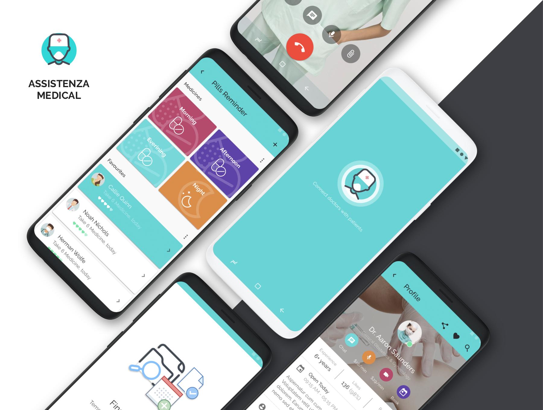 医疗功能的APP UI产品Android Ui安卓U ui素材下载[Sketch] Assistenza Medical