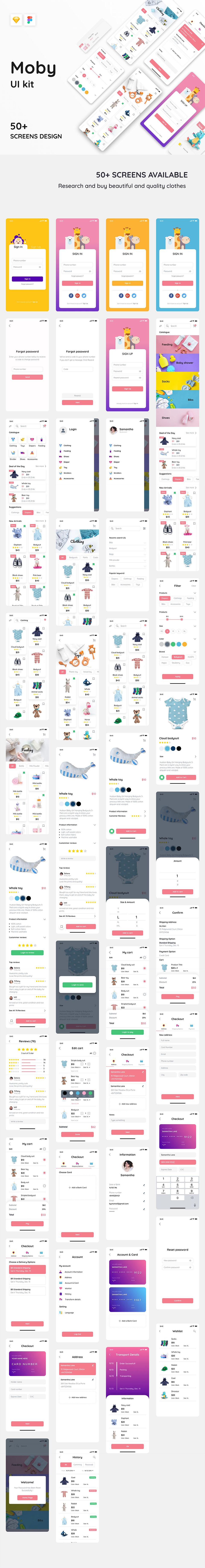 完美的母婴类电商 APP UI KIT 套装模板下载 [Sketch,Fig] Moby E-commerce App Ui Kit