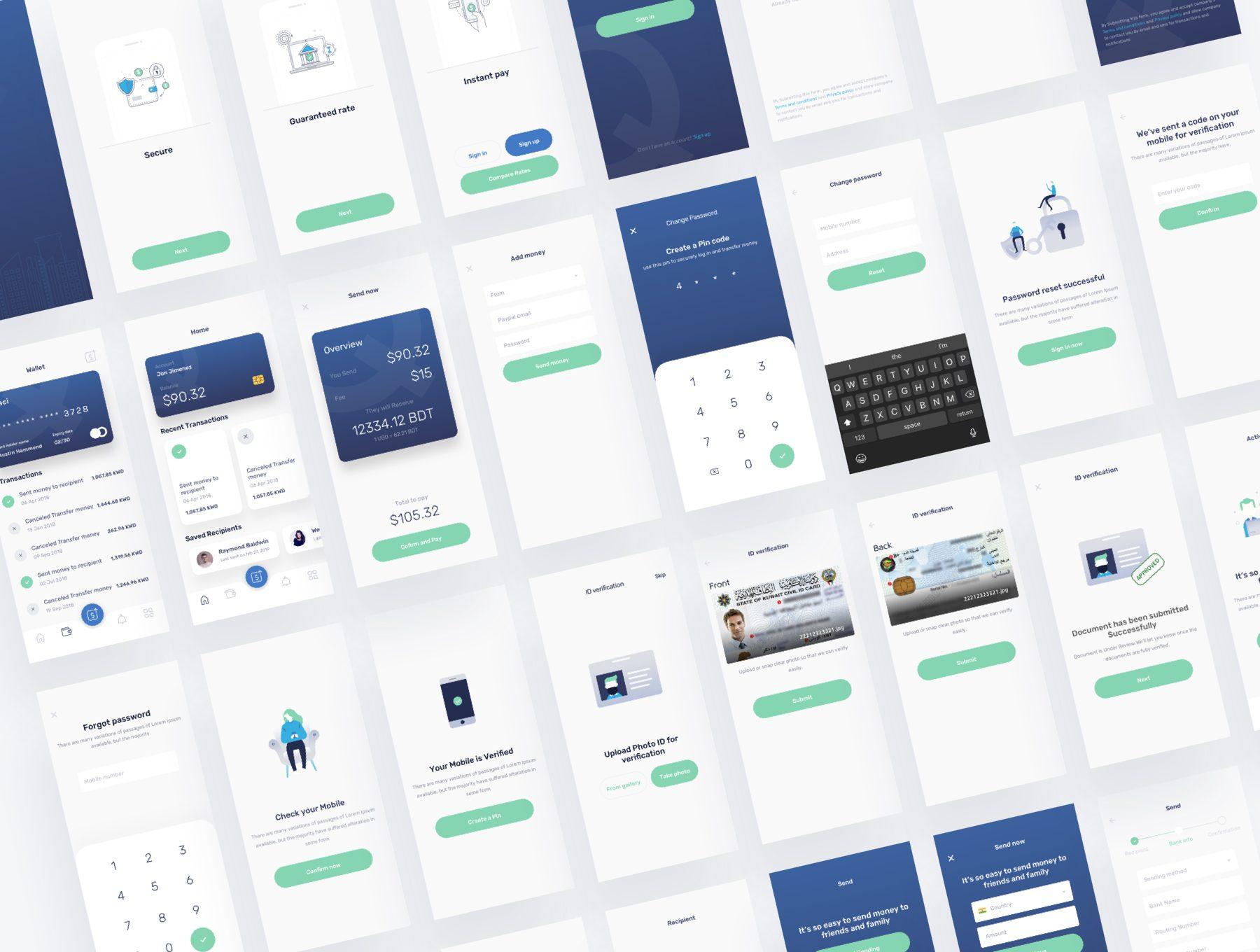 金融网银手机APP UI KIT模板iOS Ui手机ui设计app界面设计模板下载[Sketch] Quikpay Remittance IOS app ui kit