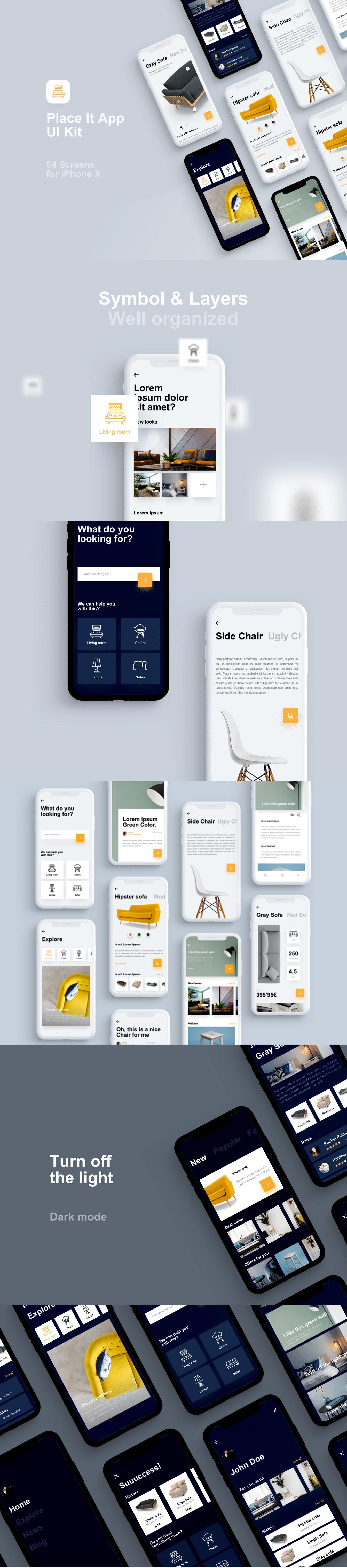 高端创意家居展示与销售电商 APP UI KIT [Sketch] Place It UI Kit