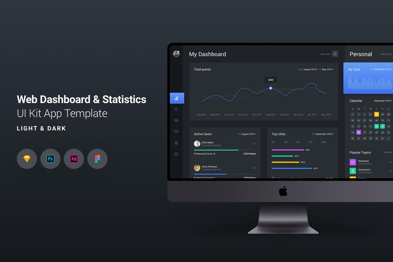 高端多用途的Web后台仪表板和统计UI KITS应用程序设计PSD模板 Upload