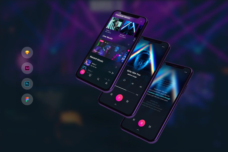 时尚高端音乐播放器与歌词APP UI KITS Music Player with Lyrics Mobile UI Kit by PanoplyStore