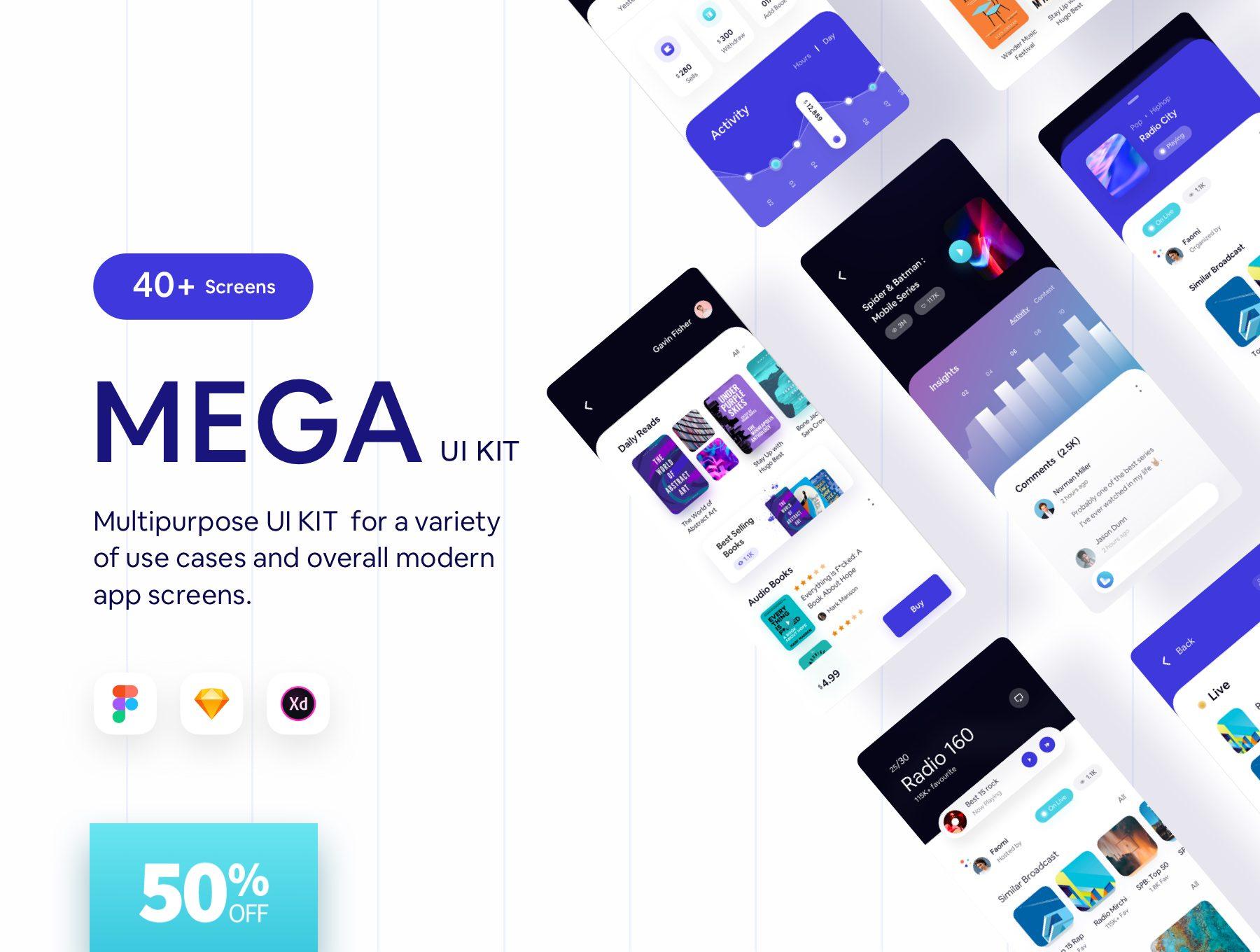 数字媒体音频阅读 APP UI KIT app设计iOS套装下载[fig,XD,Sketch] Mega iOS App UI Help Kit