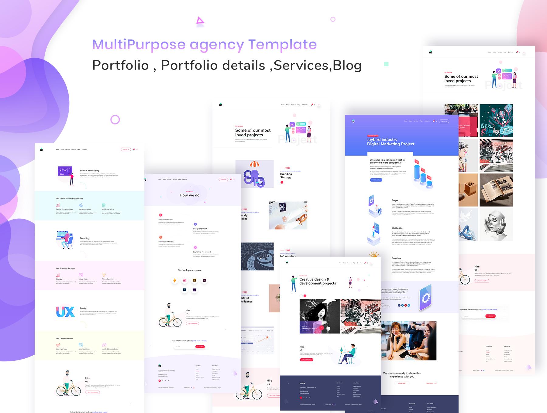 时尚创意的网页模板UI KIT ui设计师网站 ui界面 网页ui[XD,PSD] Arup - Creative Multipurpose Template
