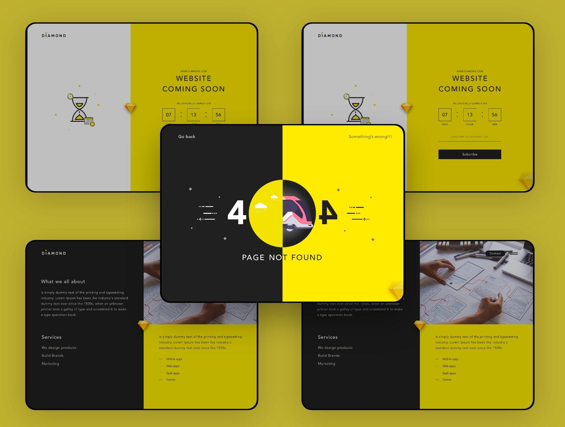 酷炫时尚的企业官网网站界面ui设计ui下载[Sketch,XD] Diamond ui web template