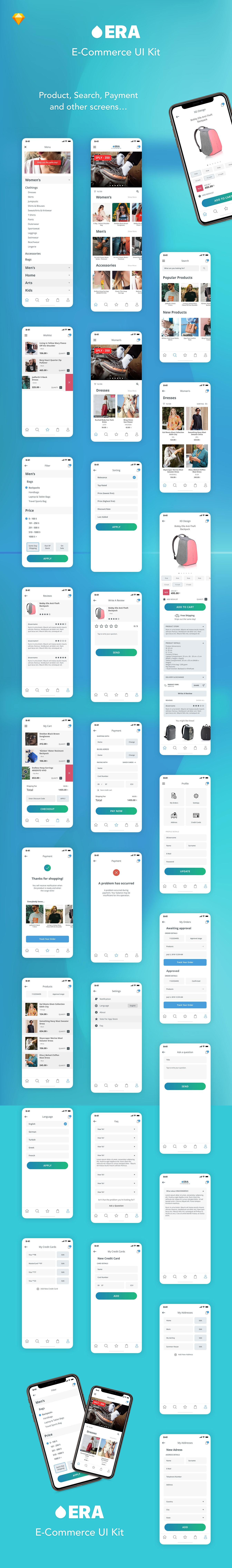 多功能时尚电商 APP UI KIT [Sketch] EraCommerceKit iPhone X