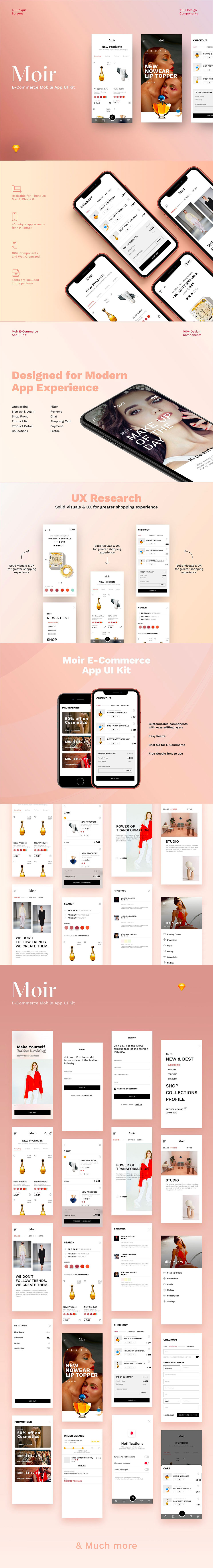 高端时尚的化妆品护肤品 APP UI KIT 模板套装下载 [Sketch] Moir-Ecommerce App