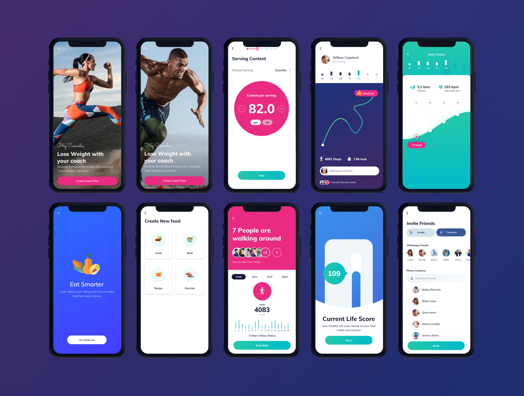 健身运动APP UI KIT模板iOS Ui手机ui设计app界面设计模板下载[Sketch] ifesum Health and Fitness Mobile App - UI kit