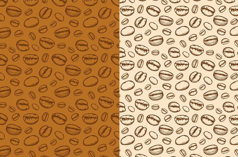 咖啡和茶杯纹理无缝模式背景图案 Coffee and Tea Patterns