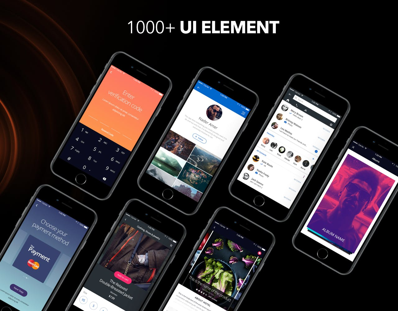 iPhone 8 版本精品电商app设计套装PSD模版  shadow-mobile-kit