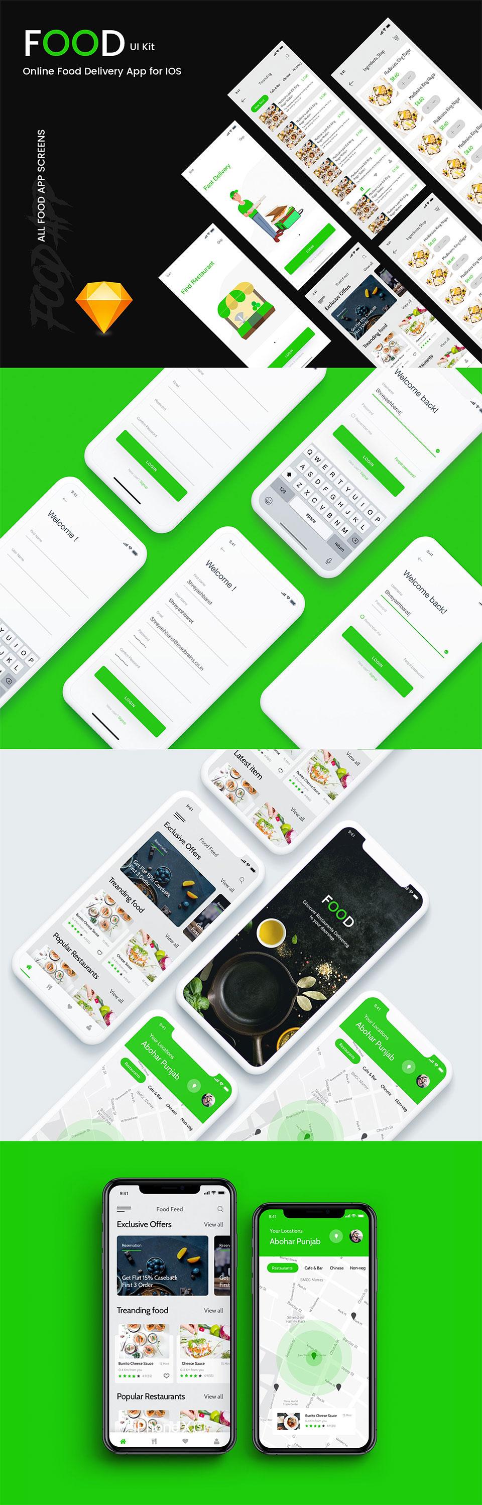 清新简洁的美食外卖派送 APP UI KIT 模板套装下载 [Sketch] Food UI Kit Directory