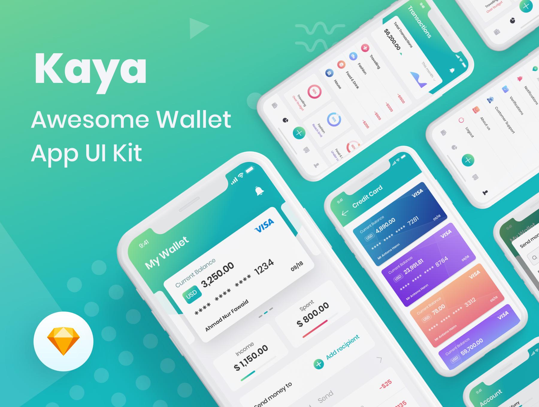 个人财务管理钱包工具APP UI 套装 iOS Ui app界面设计[Sketch] Kaya Wallet App