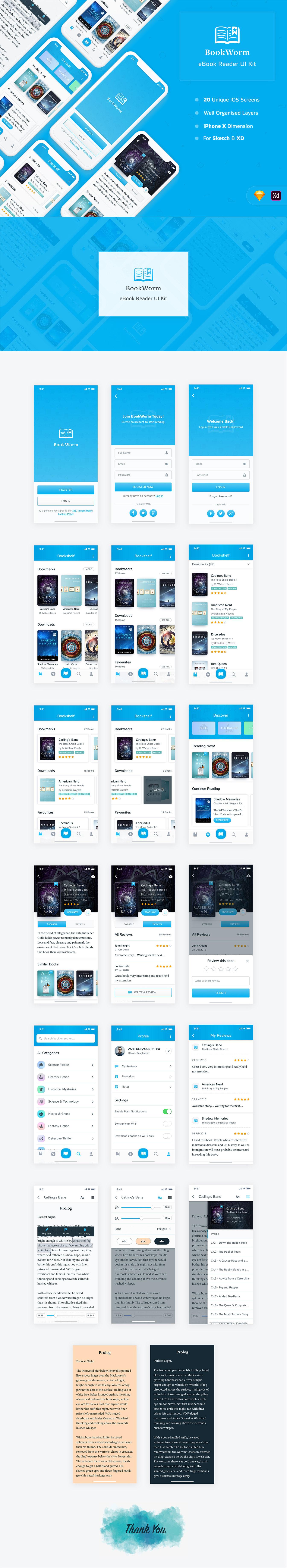 完美的手机应用电子书阅读APP UI KITS下载[Sketch,XD] BookWorm eBook Reader UI Kit