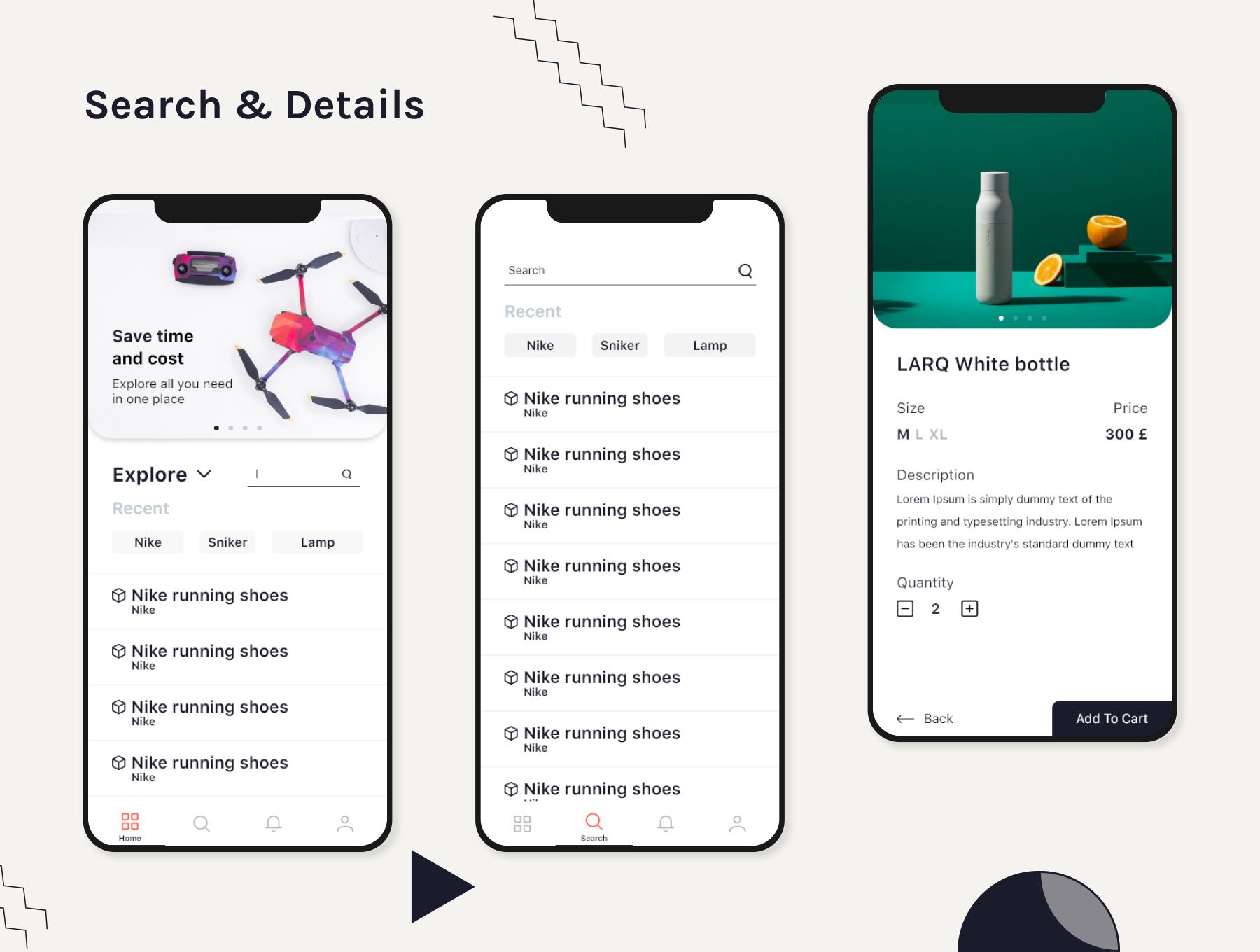 前卫的数码产品无人机电商APP设计模板 app设计iOS Ui套装下载[XD] Ink Mart Ecommerce UI Kit