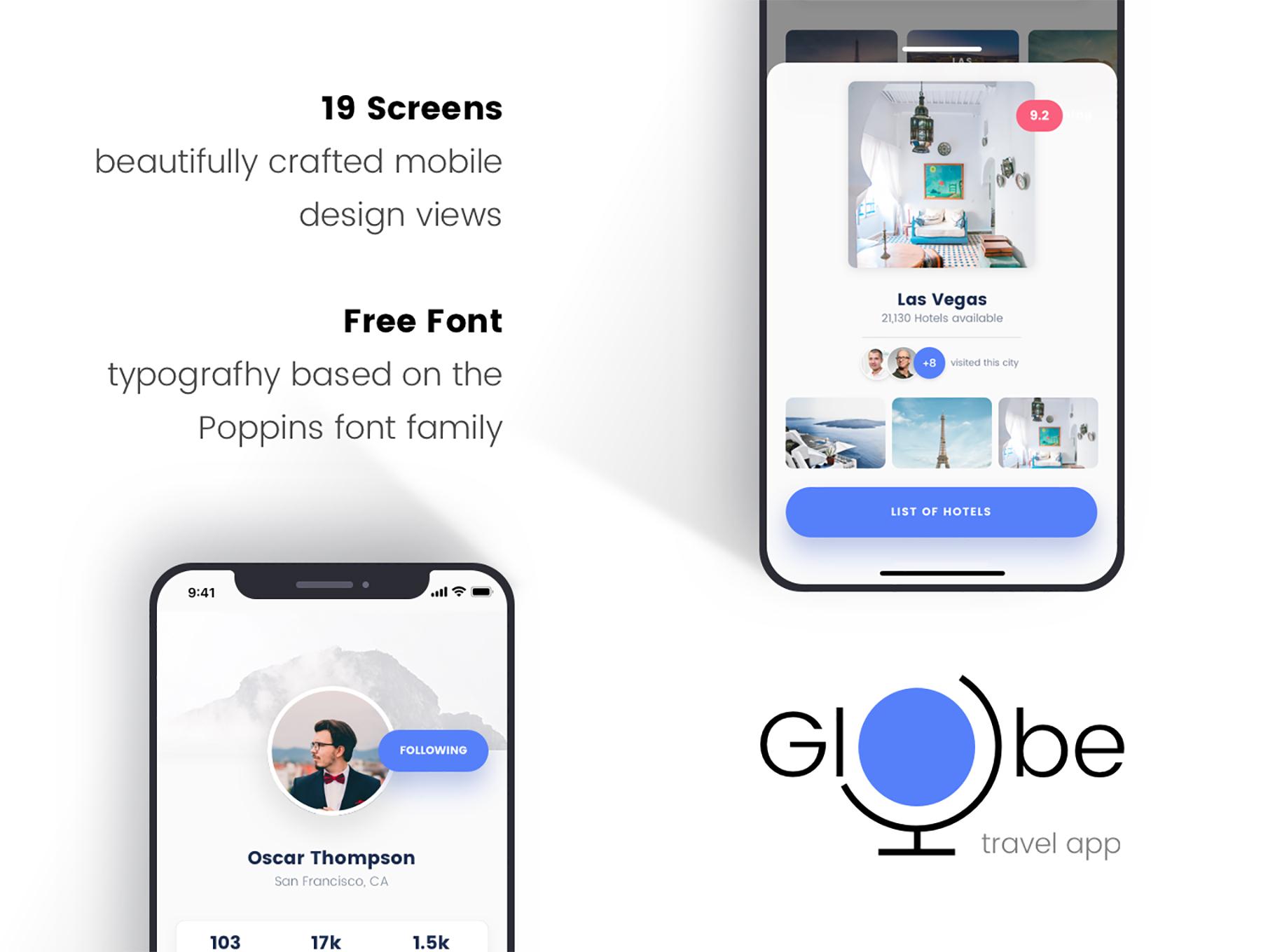 全球旅行APP UI KIT套装模板下载[Sketch] Globe Travel app