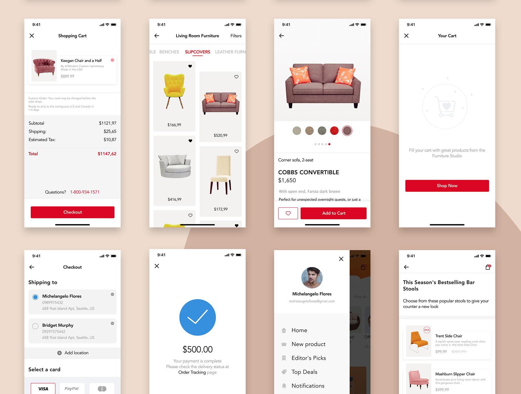 高端时尚的家具电商APP UI KIT套装模板下载[Sketch] Furniture Design UI Kit
