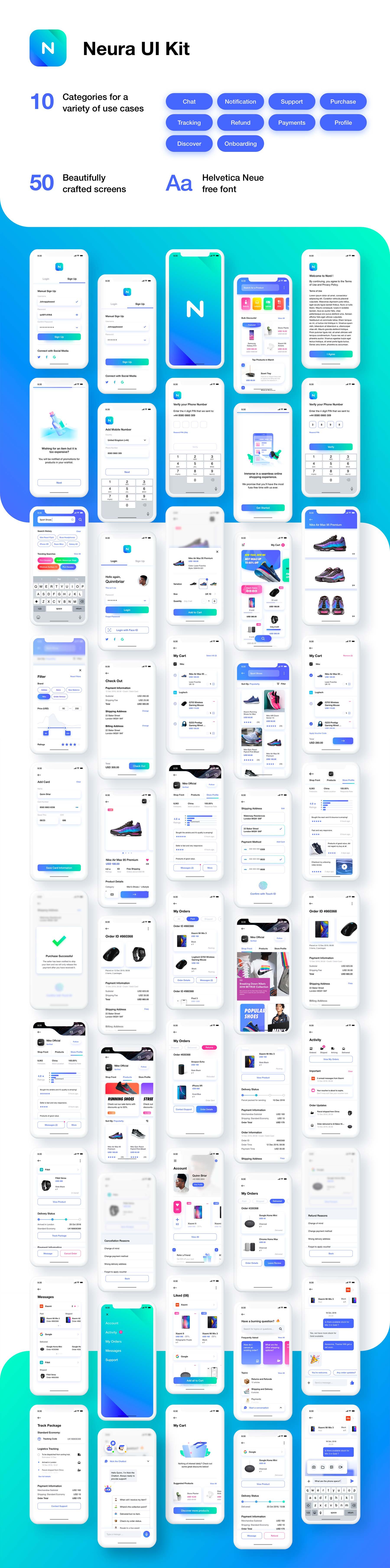 精美的IOS风格多功能电商APP UI KIT套装 iOS Ui app设计 界面ui设计[Sketch] Neura e-commerce UI Kit
