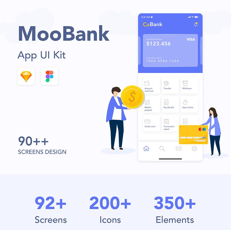 高端银行钱包类APP UI KIT套装  MooBank UI Kit iPhone X