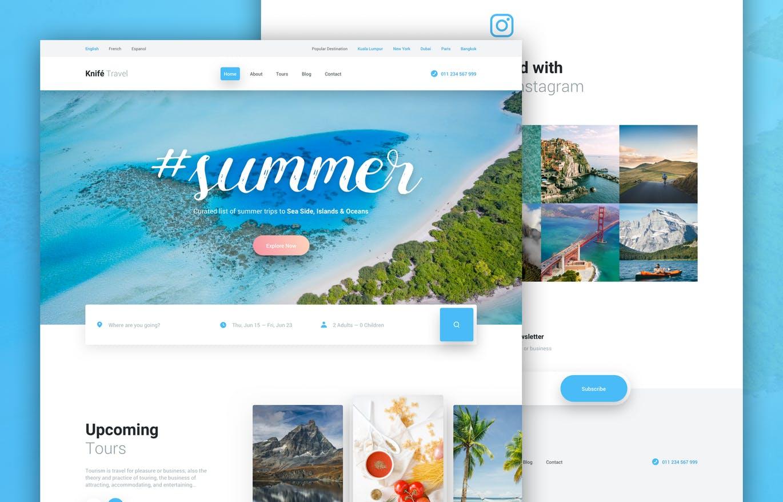 时尚高端清新旅游网站设计模板UI KITS  Knife Travel - Travel Agency Web Design Template by PanoplyStore