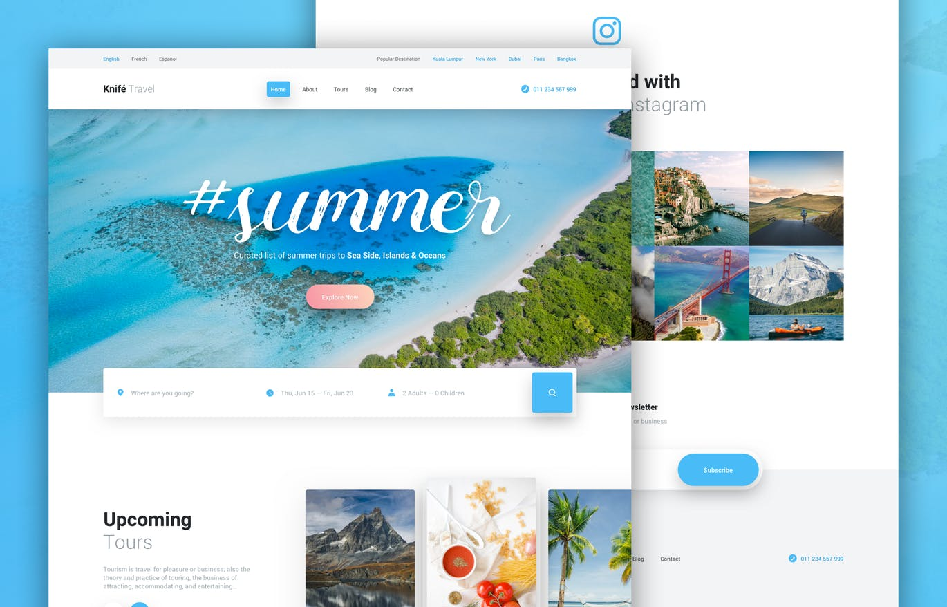时尚高端清新旅游网站设计模板UI KITS  Knife Travel - Travel Agency Web Design Template by PanoplyStore