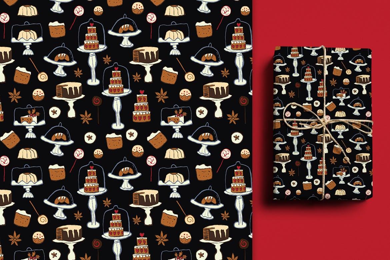 背景手绘纹理图案喜庆花纹松子树叶蛋糕模式 Cakes Patterns