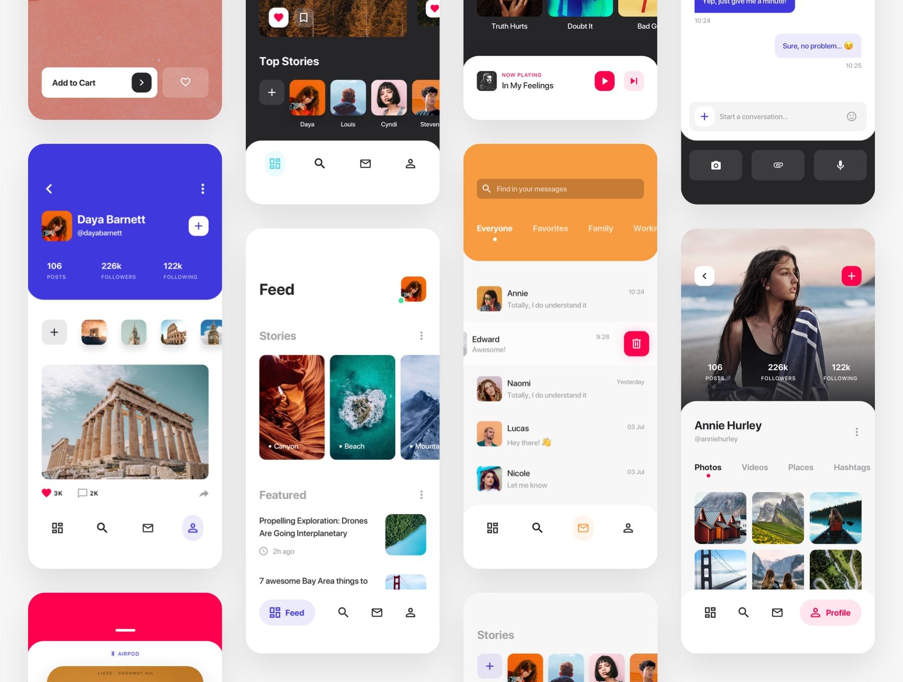 社交图片功能app设计iOS Ui 套装下载 [Sketch] Cardi UI Kit