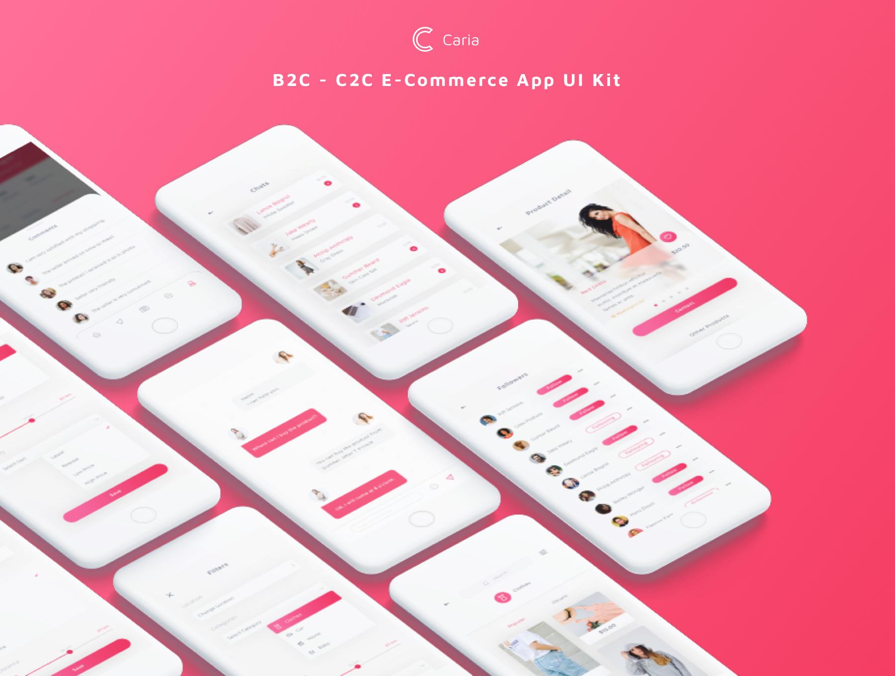 时尚的B2C和C2C电商APP UI KIT模板套装下载[Sketch] Caria - eCommerce App UI Kit