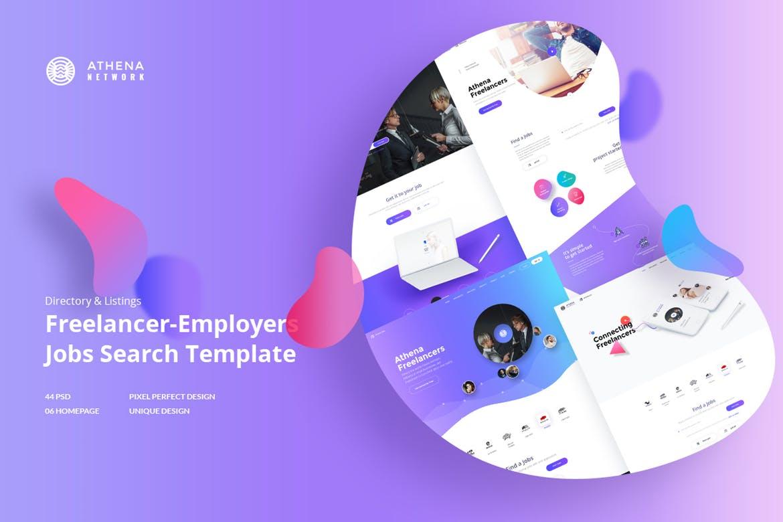 自由职业者和雇主职位搜索网络PSD模板 ATHENA - Freelancer and Employers Jobs Search  UI Kits
