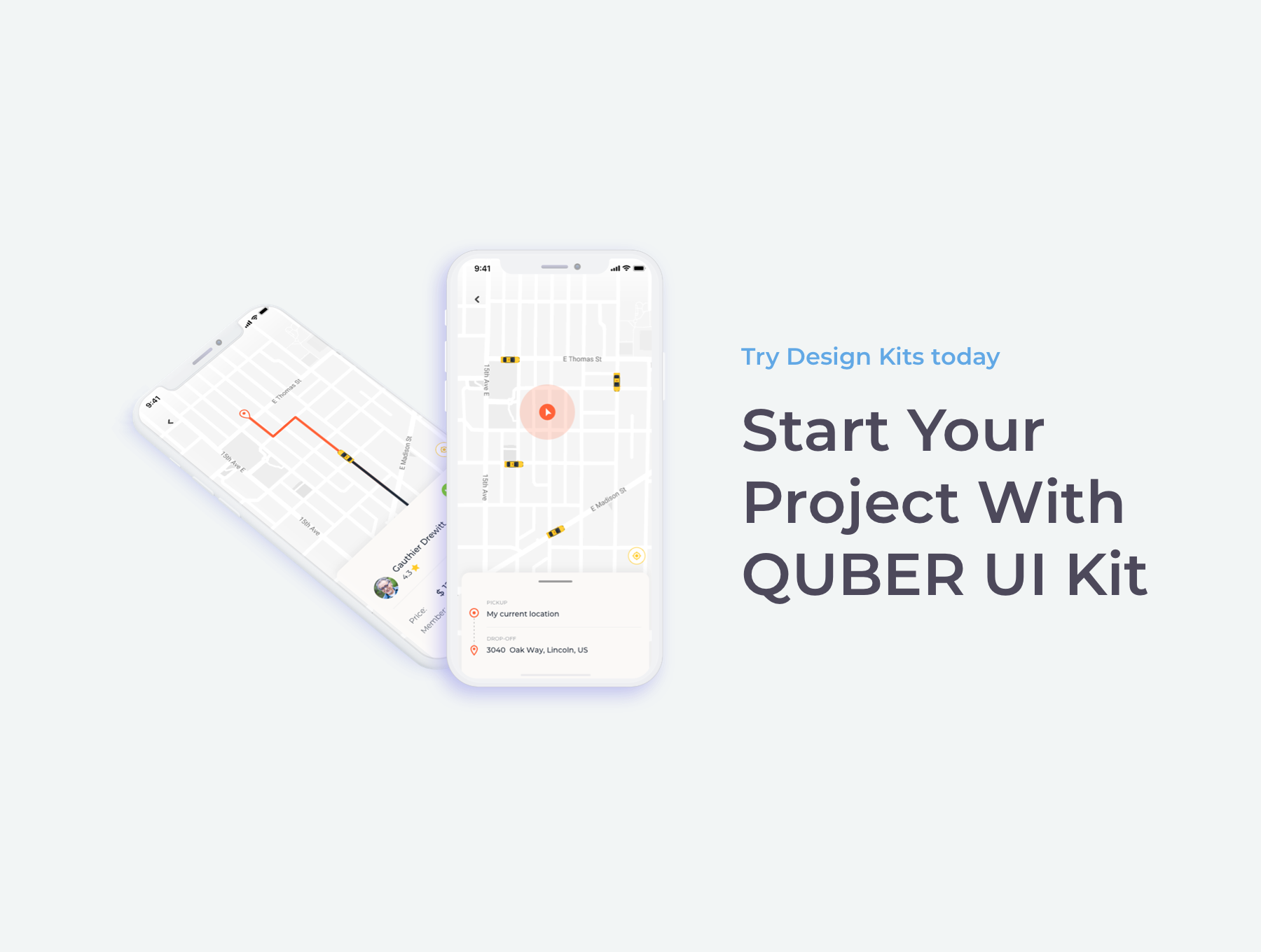 完美的打车租车应用APP UI KIT套装模板 app设计 sketch iOS Ui[Sketch,XD,fig] QUBER Taxi App UI UX Kit