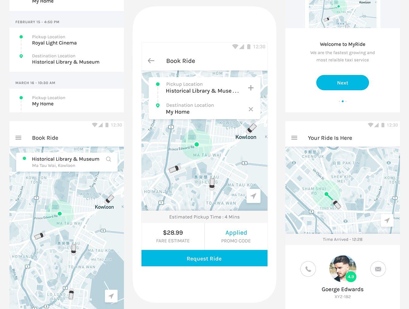 出租车叫车手机移动应用程序APP UI KITS Taxi Service APP-Mobile UI Kit