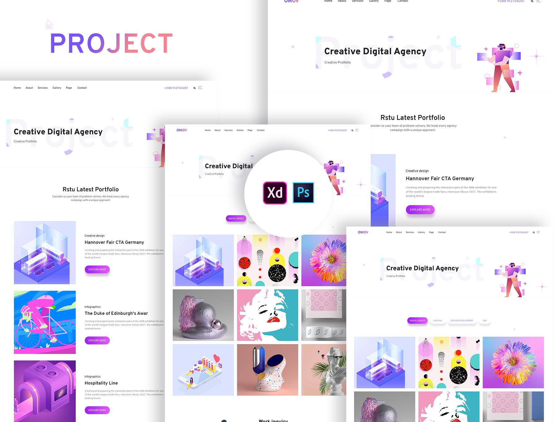 设计公司广告公司ui网页设计模板下载[PSD,XD] Creative Digital Studio Template