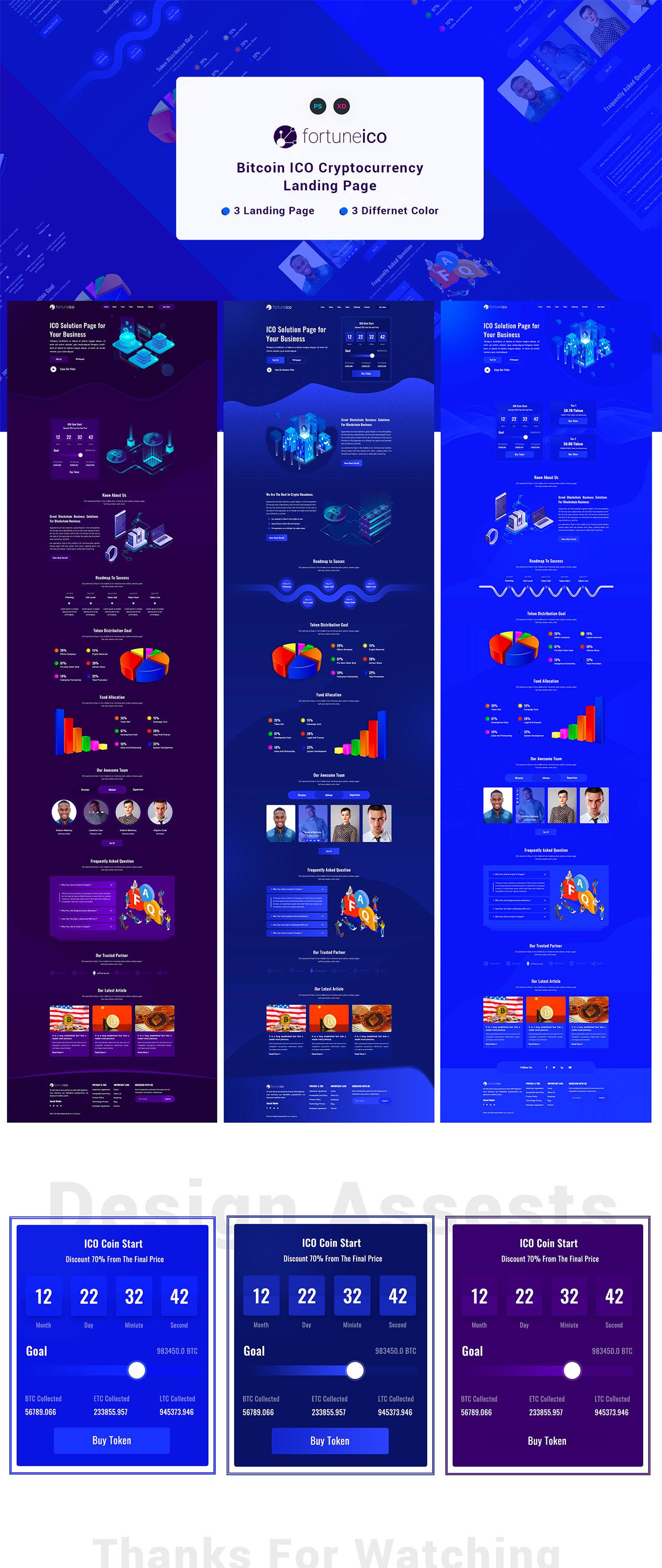 酷炫的加密货币数字货币区块链官网设计模板下载[PSD,XD] Fortune ICO Landing Page
