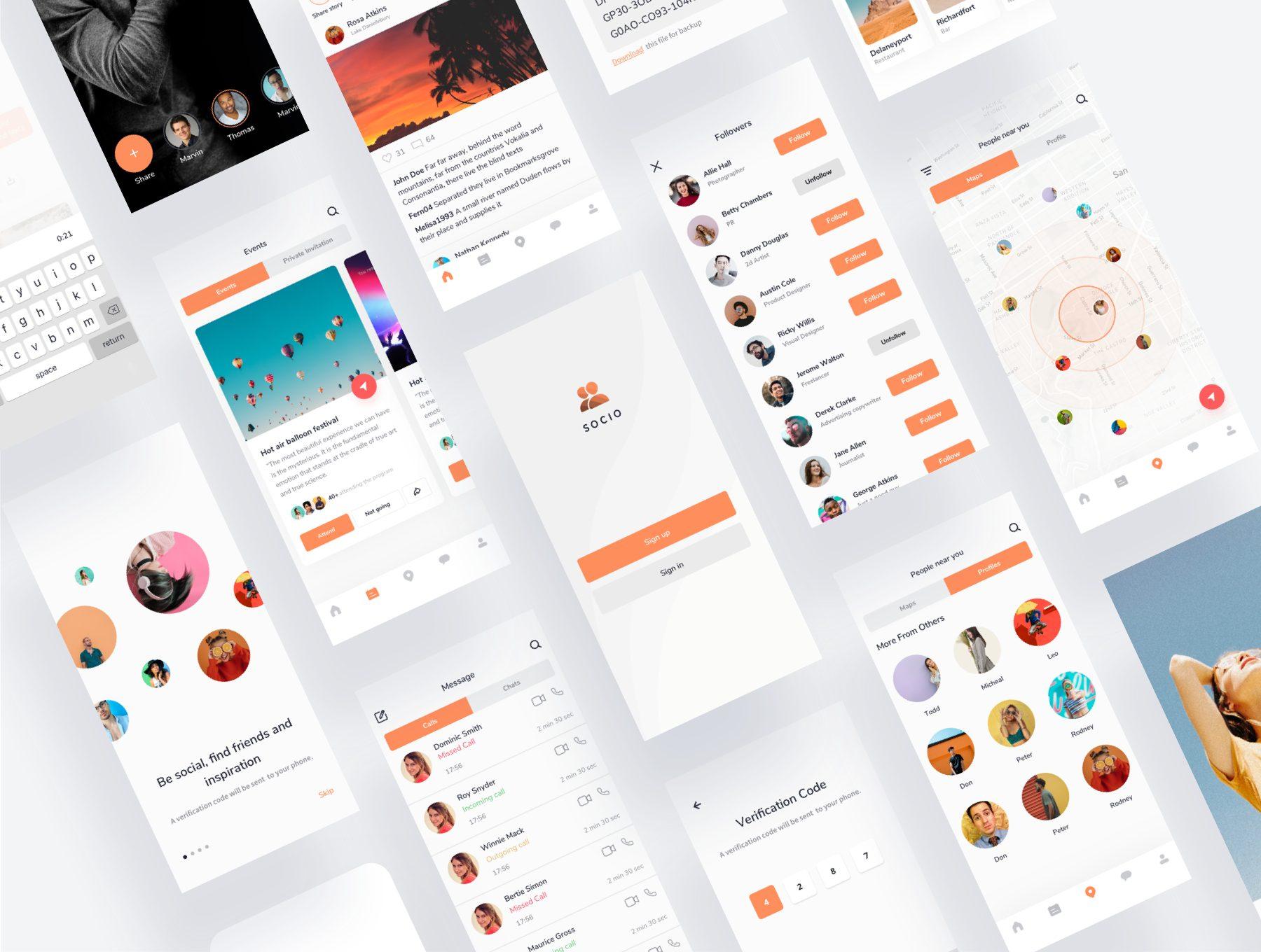 IOS风格多功能社交APP UI KIT套装social-app-light