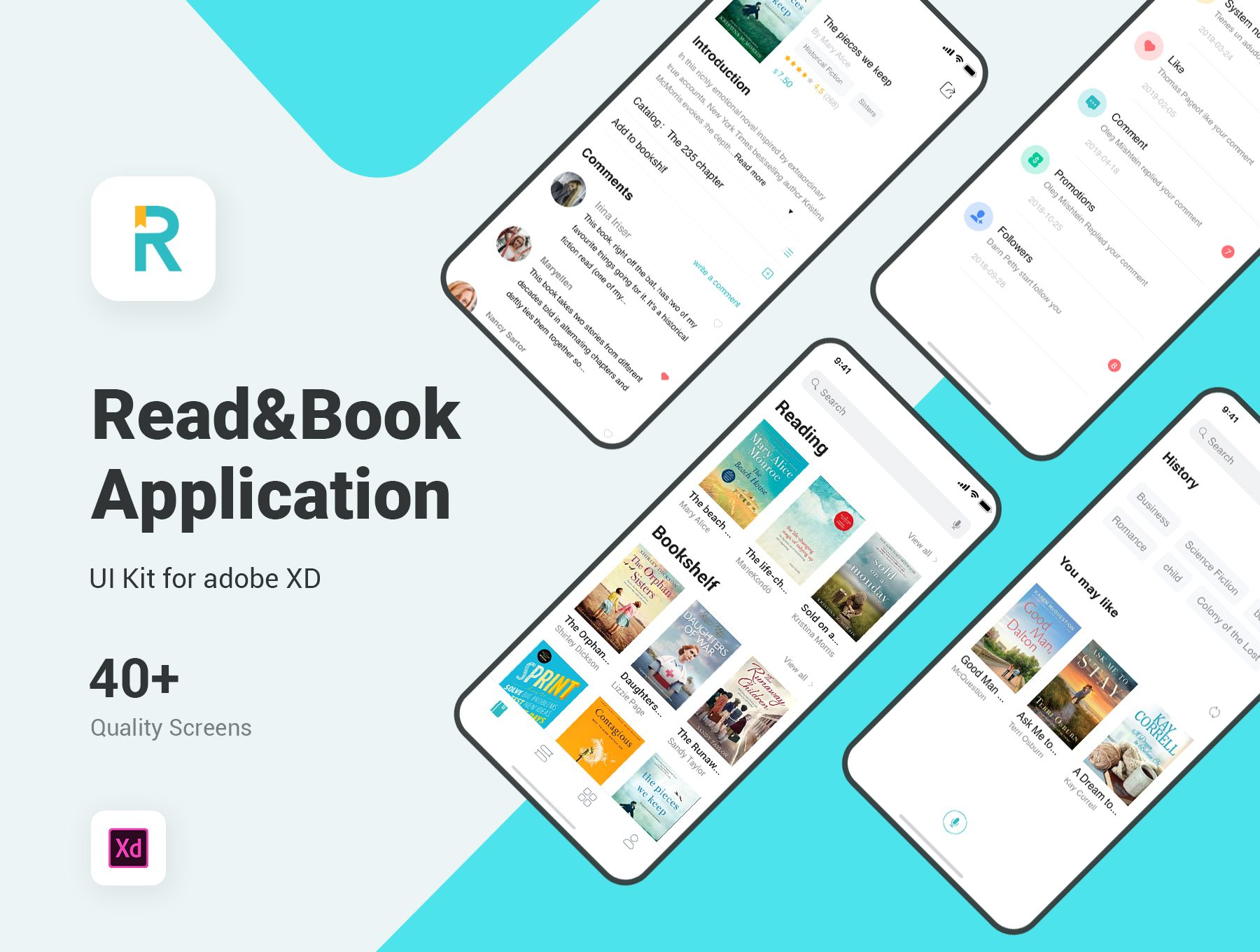 阅读类工具APP UI KIT套装 iOS Ui ui设计app [XD] Read & Book UI Kit for Adobe XD