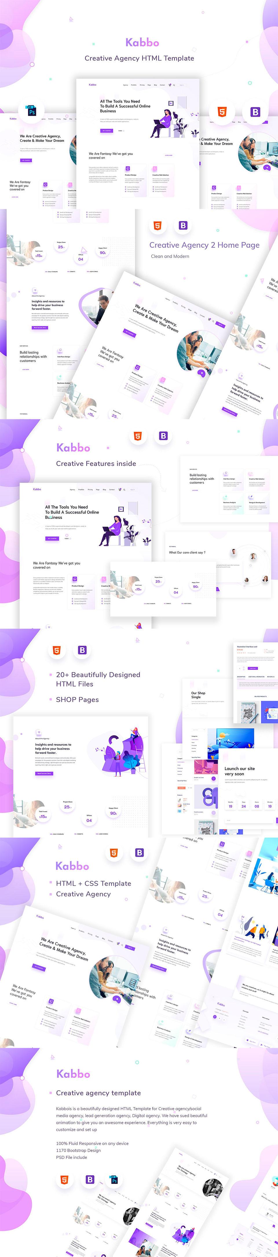 优雅的插画风格产品服务网页 UI KIT 模板下载 [PSD,HTML] Kabbo - Creative Agency Template