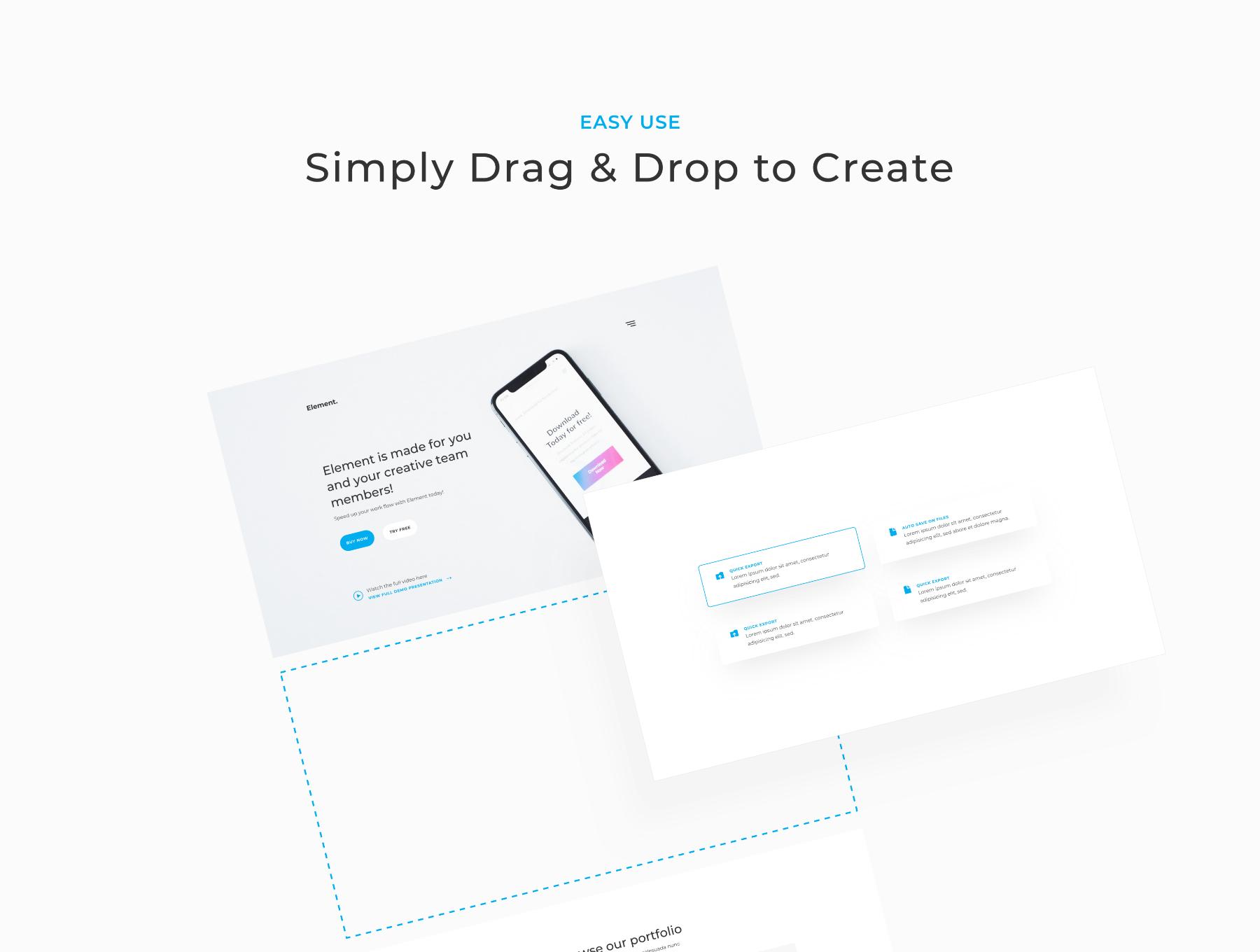 简约企业网站模板网页ui设计规范UI栅格化[XD,Sketch,PSD] Element - UI Web Kit