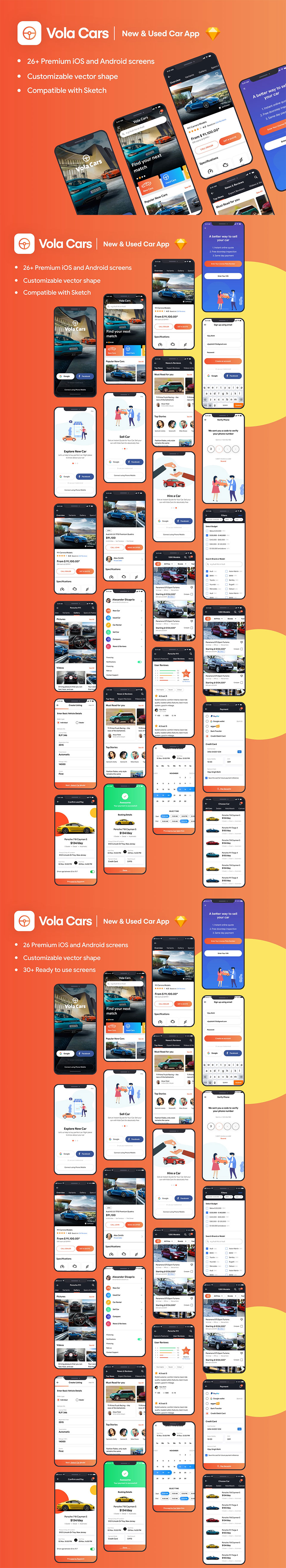 汽车租赁销售APP UI KIT套装模板下载 [Sketch] Vola Cars Premium iOS App UI Kit Sketch