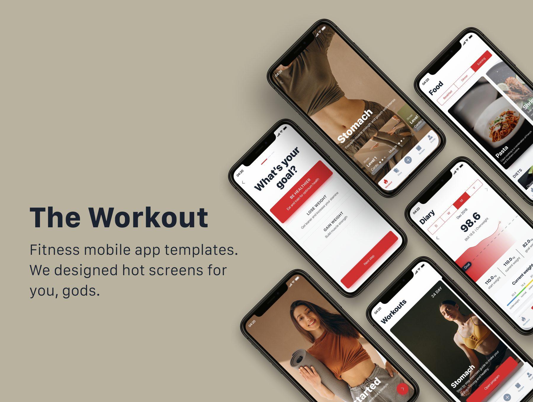 运动健身锻炼 APP UI KIT app设计iOS套装下载 [fig,Sketch] The Workout
