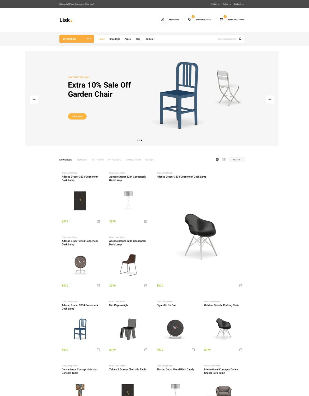 高端优雅时尚简约的家具电子商务SKETCH设计模板 lisk-furniture-ecommerce-sketch-template